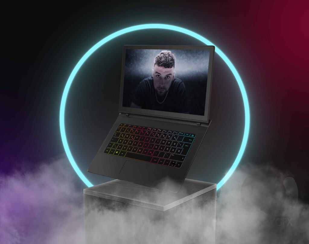 Floating_Gaming_Laptop_On_The_Display_PSD_Mockup